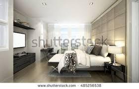 Modern Luxury Bedroom Design - 3d rendering concept idea loft bedroom stock illustration