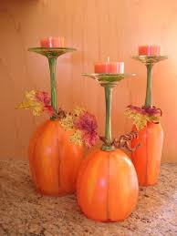 thanksgiving pumpkin painted wine glasses candle