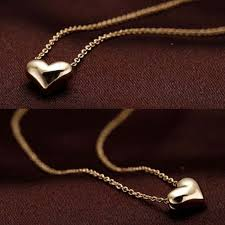 girl heart necklace images Hot popular 1pc simple design exquisite gold color chain heart jpg