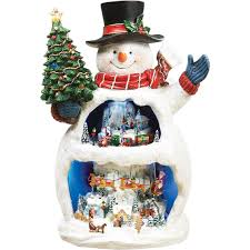 roman musical light up snowman with snow scene decoration snow