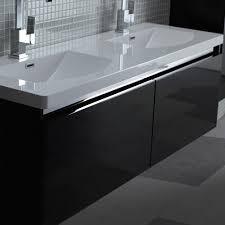 Lusso Stone Noire Double Designer Bathroom Wall Mounted Vanity - Designer vanity units for bathroom