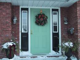 admirable wooden material front door also turqouise blue color
