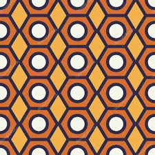 vintage pencil end seamless pattern geometric shapes in 1970s