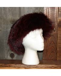 burgundy headband glacier wear burgundy dyed badger fur headband for sale