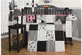 Geenny Crib Bedding Boutique Beautiful Black White Flower Dot 13pcs Crib Bedding Set