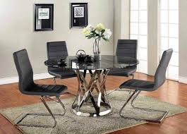 contemporary dark grey leather dining chairs with chrome z shape