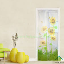 Magic Mesh Curtain Green Sunflower And Butterfly Print Magnetic Door Screen Curtain