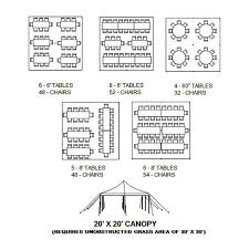 how many tables fit under a 10x20 tent 20 x 20 canopy