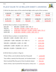 place value standard form worksheets place value worksheet up to 10 million