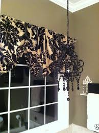 window valance made from pillow shams diy black and tan damask