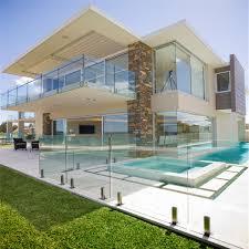 Frameless Glass Handrail Residential Pool Fence Design Stainless Steel Spigots Frameless