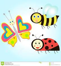cartoon butterfly ladybird and bee stock vector image 32411248