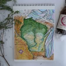 Watercolor Florida Map by Fantasy Map Of Wisconsin Watercolor Print