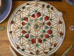 flower of life crystal grid sacred geometry alter wall home