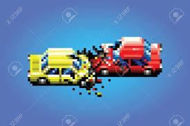 pixel car car crash accident pixel art game style retro illustration royalty
