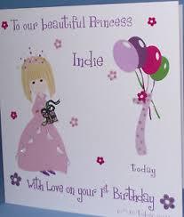 personalised handmade princess birthday card granddaughter niece