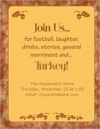 thanksgiving dinner invitation card with brown font color