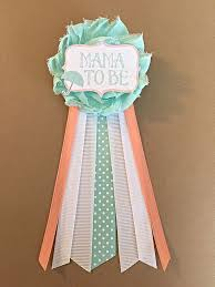 baby shower ribbon mint coral baby shower pin to be pin flower ribbon pin