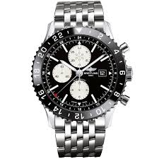 breitling steel bracelet images Breitling chronoliner black dial ceramic bezel men 39 s bracelet watch jpg