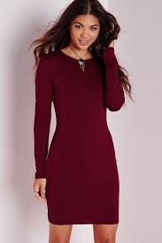 dark red long sleeve bodycon casual dress long sleeve dresses
