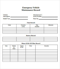 Vehicle Service Sheet Template by Vehicle Maintenance Log 7 Free Pdf Excel Documents
