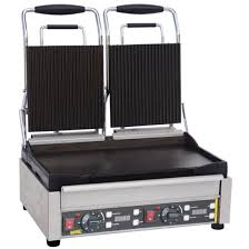 buffalo double contact grill ribbed top l554 buy online at nisbets