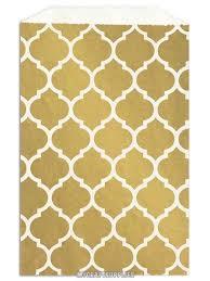 paper favor bags 50 metallic gold morrocan tile quatrefoil flat paper favor bags