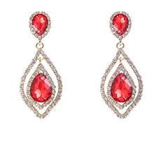 Long Chandelier Earrings Dangle Earrings Amazon Com Nlcac Women U0027s Pear Shape Teardrop Crystal Red Earrings