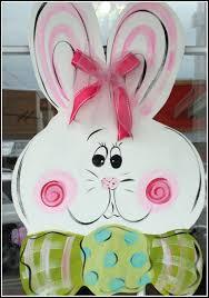 shabby chic cottontail easter bunny wooden door hanger door sign