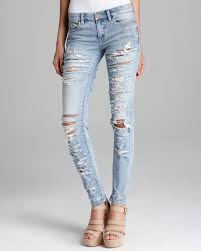 Light Wash Ripped Skinny Jeans Blank Jeans Wash Ripped Skinny In Riot Wash In Metallic Lyst
