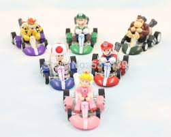 6pcs super mario bros kart pull car action