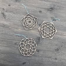 geometric ornaments set of 3 5 inches wide unique
