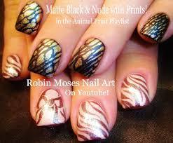 robin moses nail art fall nails matte black and pink prints