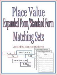 place value in expanded form place value expanded form standard form matching sets