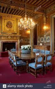 france loir et cher cheverny cheverny castle dining room stock