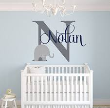 Boy Nursery Wall Decor by Custom Elephant Name Wall Decal For Boys Baby Boys