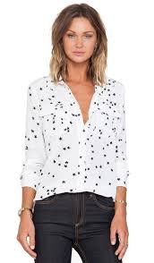 equipment signature blouse equipment slim signature print blouse in bright white revolve
