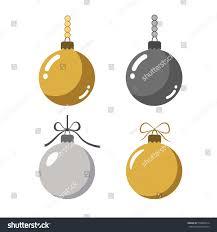 Gray And Gold Christmas Tree Ball Icons Set Gray Stock Vector 519860914