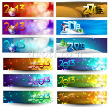 2013 new year banners background vector template free download