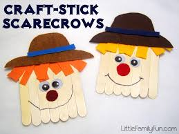 little family fun craft stick scarecrows
