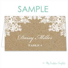 burlap and lace rustic place cards template free sample