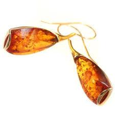 14kt gold earrings uniquely shaped cognac baltic sea earrings set in 14kt gold