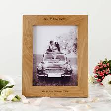 personalised oak wedding photo frame by mijmoj design