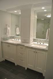 two single vanities were used to give the owners a double vanity