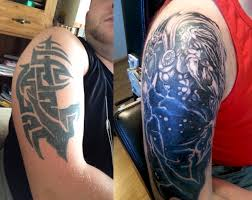 tribal cover up tattoos killerink coverup blackandgrey sleeve
