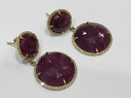 ruby drop earrings 14k yellow gold ruby slice and diamond drop earrings