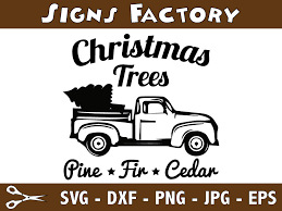 christmas tree svg old truck svg truck with christmas tree