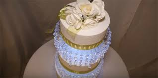 diy wedding cake stand diy 3 tier lit chandelier wedding cake stand your house a home