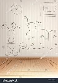 interior design concept empty room sketch stock vector 61725127