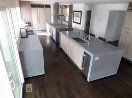 concrete island kitchen countertops with double waterfall lags by